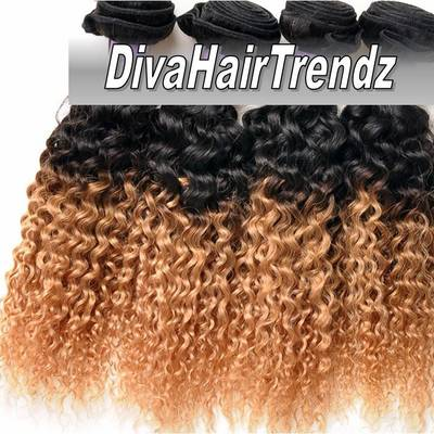 "18"", 20"" & 22"" brazilian remy exotic deeper curly honey blonde ombre! *new* [3 bundles]"