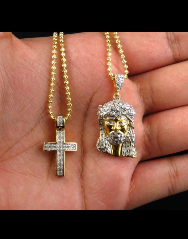 Genuine diamond yellow gold finish mini micro jesus pendant and genuine diamond yellow gold finish mini micro jesus pendant and cross set 83 ct with aloadofball Image collections