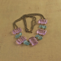 Ametrine, Teal, and Antique Brass Necklace