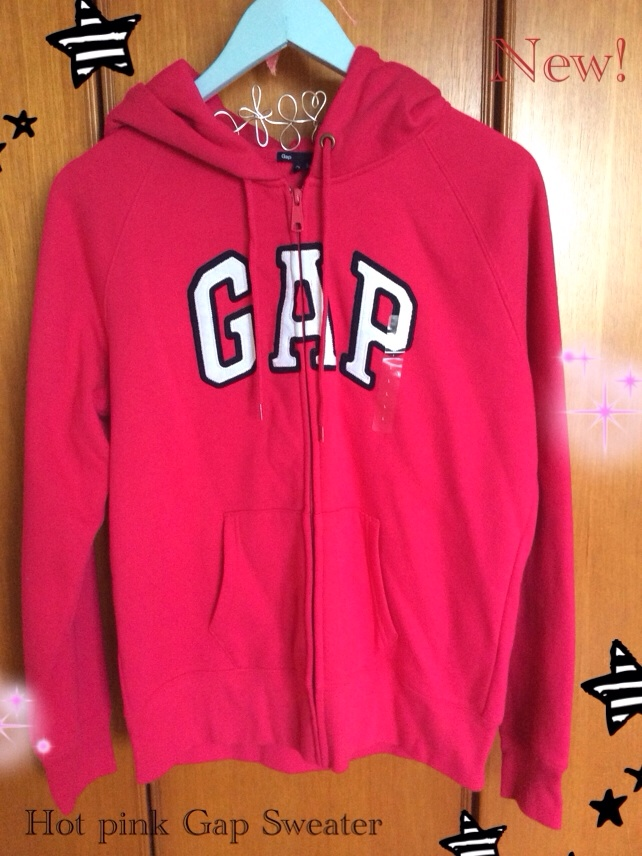 GAP hot pink sweater jumper zipper jacket hoodie zip New ...