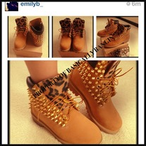 Spiked Wheat & Leopard Timberlands ADULTS SIZES 7.5-UP