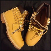 SPIKED TIMBERLAND: CUSTOMIZING ONLY FOR SIZES 3.5-6.5 JUNIORS