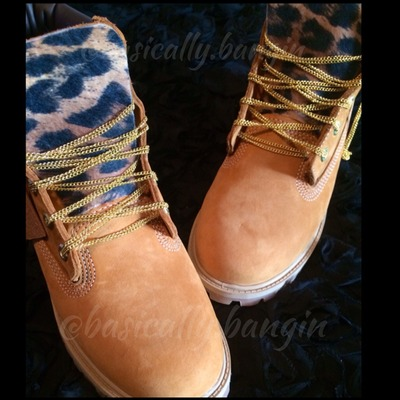 Chain laces/ leopard tongue timberlands (adult sizes 6.5-up)