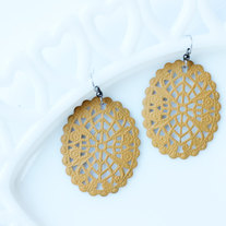 Large Oval Filigree Cutout Mustard Yellow Dangle Earrings