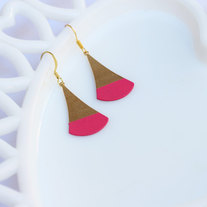 Fuchsia Color Dipped Flat Brass Dangle Earrings