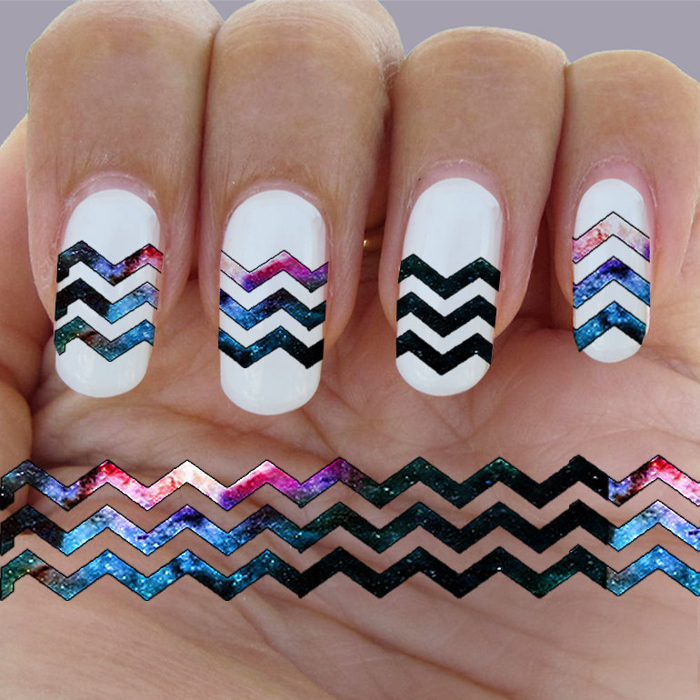 Galaxy, Lines, rows, Chevron Zigzag nail art, Waterslide nail ...