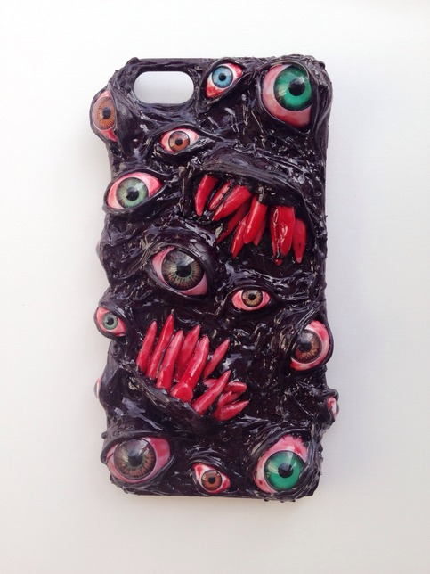 Handmade Decoden Phone Case Surreal Custom Horror Phone Case Eyeball Punk Psychohilly