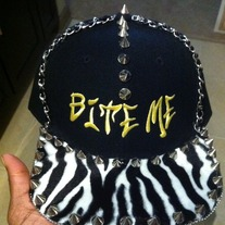 """BITE ME"" with ZEBRA PRINT SNAPBACK"