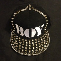 NAME HAT W/ SPIKED BRIM Trimmed w/ chain