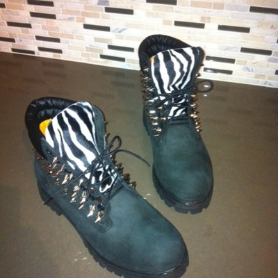 Black w/zebra & silver spikes timberlands (adult sizes 6.5-7)