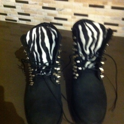 Black w/zebra & silver spikes timberlands (adult sizes 8 and up)