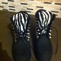Spiked Black & Zebra Timberland (ADULT SIZES 8 and Up)