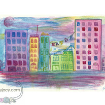 """Colors of Dawn"" 8x10 Matte Print Watercolor Urban Cityscape Illustration"