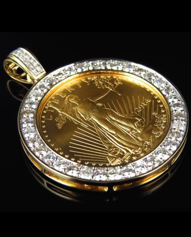 24 k solid yellow gold lady liberty half 12 ounce custom diamond 24 k solid yellow gold lady liberty half 12 ounce custom diamond pendant 35 aloadofball Gallery