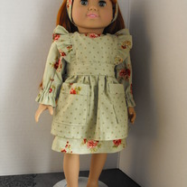 Sage Green and Floral dress, pinafore, and headband 3 pc
