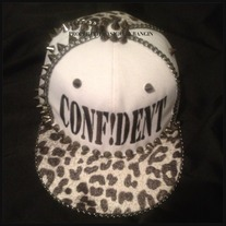 CONFIDENT Hat w/ black and white leopard Print