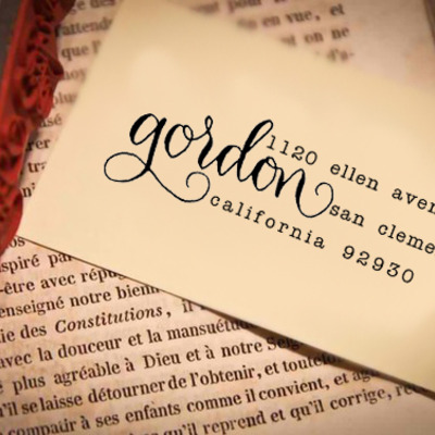 Custom calligraphy address stamp -- mixed calligraphy and type - saison paris style modern