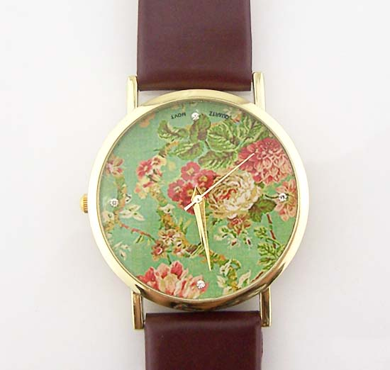 quartz casual watch women green item for flower leather dress new mint feminino lot relogio strap fashion watches geneva