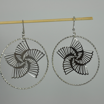 Flower_in_circle_metal_hook_earring_medium