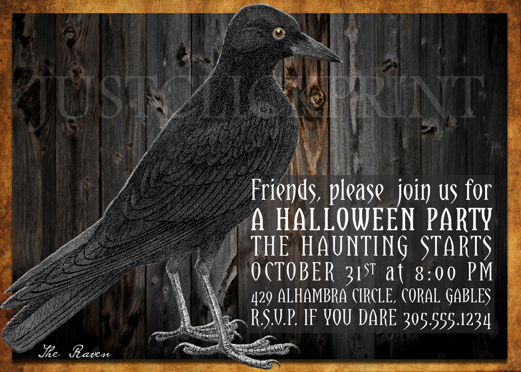 The Raven Halloween Party Invitation Printable · Just Click Print ...