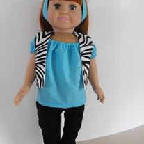 Blue shirt, zebra vest, black leggings, headband 4 pc.