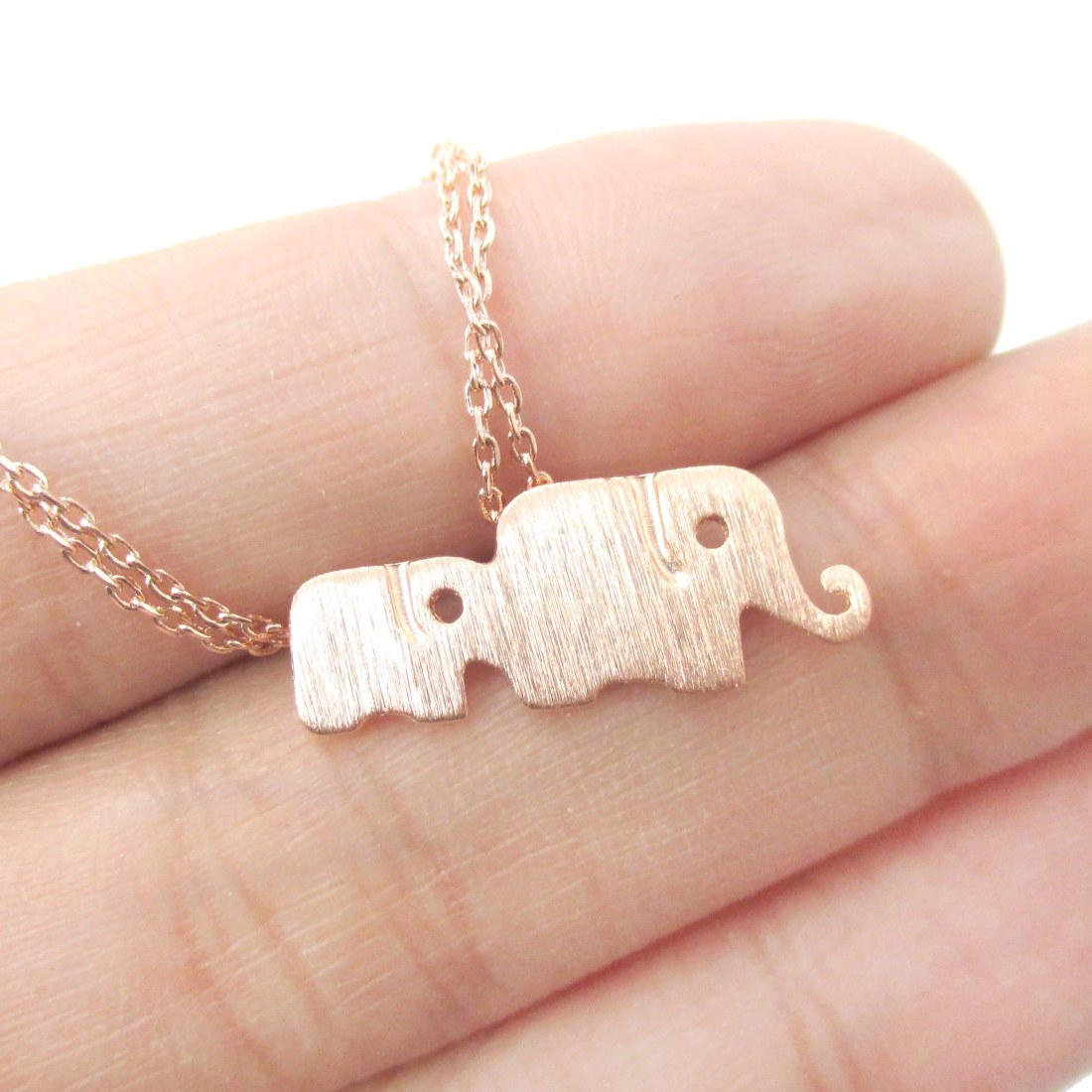 Classic elephant mother and baby family pendant necklace in rose classic elephant mother and baby family pendant necklace in rose gold mozeypictures Image collections