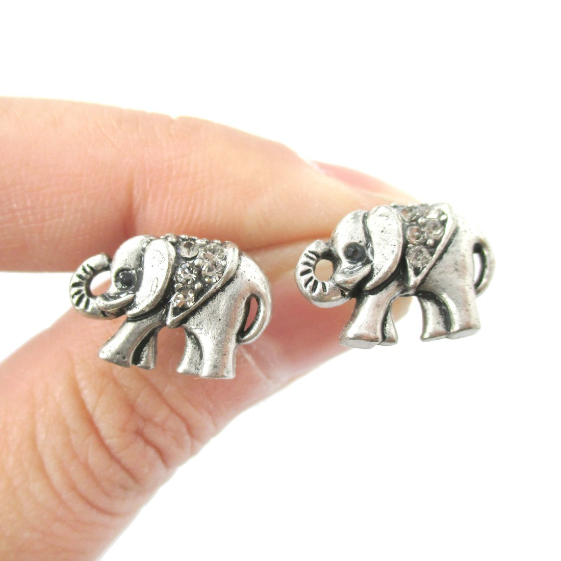 small elephant shaped animal stud earrings in silver with