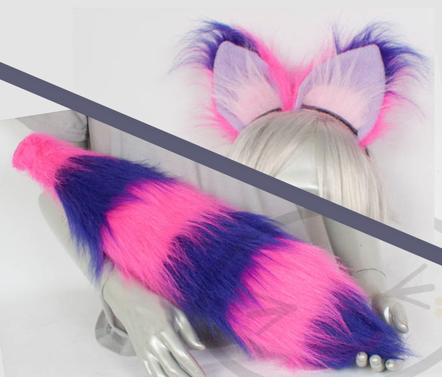 Fluffy Cheshire Cat Ear And Tail Set Cosplay Accessories Costume