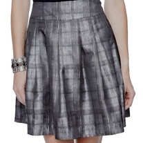 XS forever 21 gray silver rockabilly pleated full mini skirt pin-up punk