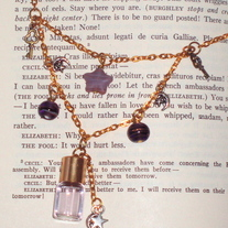 Purple Mini Perfume Bottle Moon Star Pendant Key Charm Gold Multi-Chain Layer Necklace