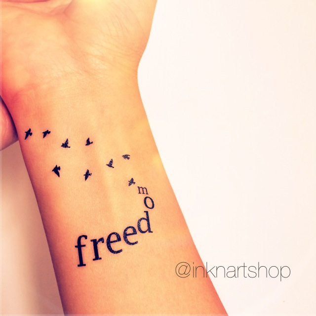 2pcs freedom with flying birds tattoo inknart temporary for Wrist tattoo prices