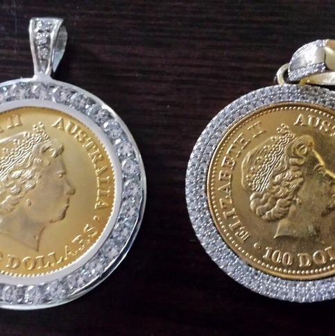 Mens Multi Tone Gold Sterling Silver Custom Lab Diamond