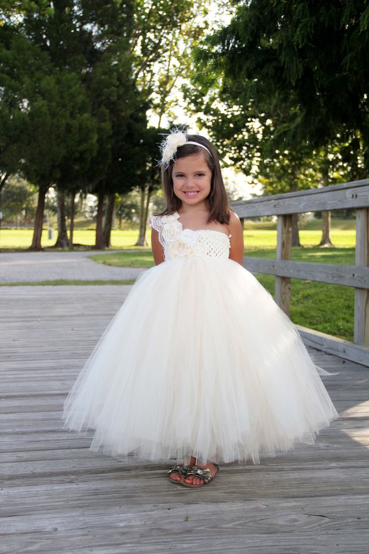 one shoulder tulle ivory flower girl dress · BestWeddings · Online ... e9c4d0b7b