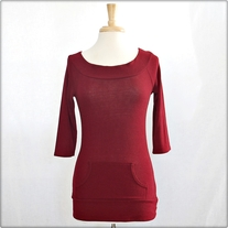Burgundy 3/4 Sleeve Knit Shirt