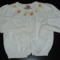 White Sweater with Yellow/Orange Flowers-Gymboree Size 4T