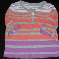Gray/Pink/Purple Stripe Shirt with Roll Up Sleeves-Old Navy Size 5