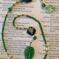 Green Leaf Beaded Bookmark