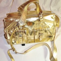 MCM Logo Design Munchen Gold Leather Handbag New! Italy ......