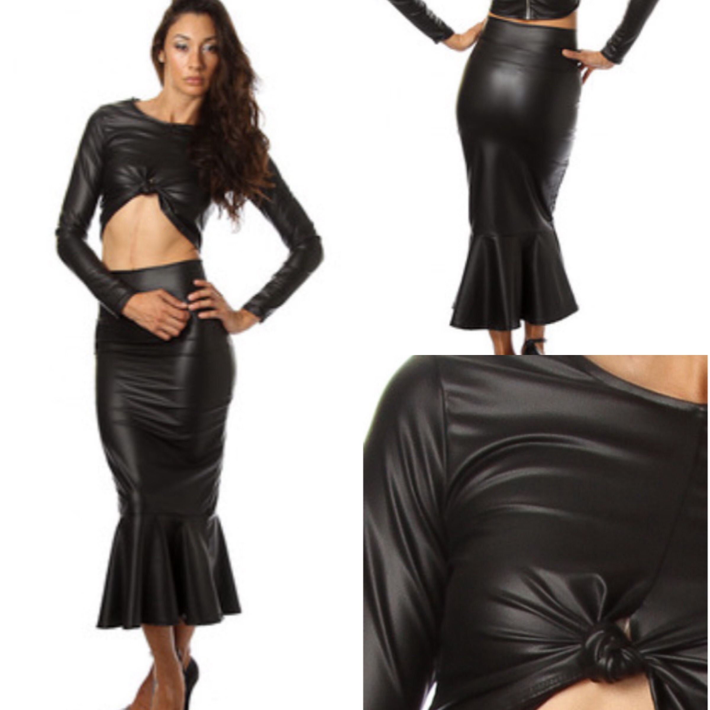 faux leather trumpet skirt crop top set 183 simply chic