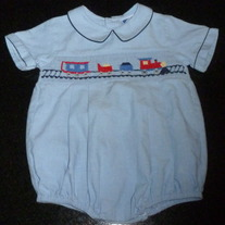 Light Blue Train Romper-Carriage Boutiques Size 6 Months