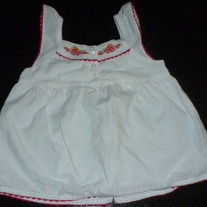 White Sleeveless Shirt with Pink Stitching/Buttons-Nautica Size 12-18 Months