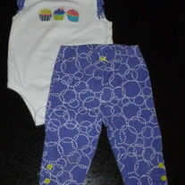 Cupcake Sleeveless Onesie with Purple/White Matching Leggings-Carter's Size 6 Months  CLM1