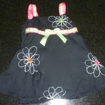 Black Dress with Lime Green/Hot Pink Ribbon-Baby Berl (Boutique) Size 6-9 Months  CLM1