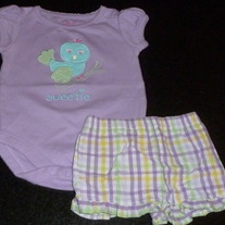 Short Sleeve Purple Onesie with Bird Says Sweetie and Matching Shorts-Garanimals Size 0-3 Months  CLM1