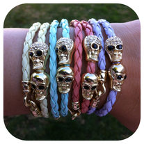Set of 4 Colorful Skull Bracelets