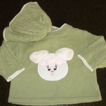 Green Sweater with Bunny and Matching Hat-Starting Out Size 3 Months