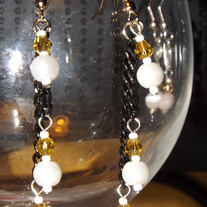 Black Chain White Pearls and Yellow Crystals Earrings