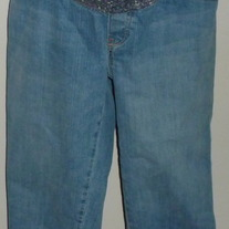 Denim Capris with Purple Floral Waist-Old Navy Maternity Low Rise Size Medium  CLSR