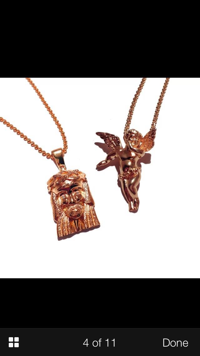 Mini jesus piece and mini angel combo yellow white or rose gold mini jesus piece and mini angel combo yellow white or rose gold finish with chains aloadofball Choice Image