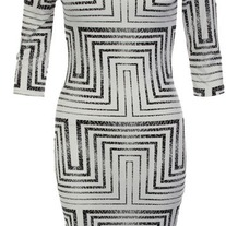 Tribal Print Black & White Dress